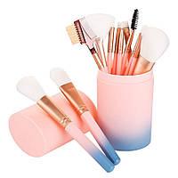 Профессиональный набор кистей для макияжа в тубусе, 12 штук, розово-голубые. Кисти для макияжа.