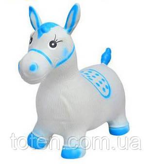 Надувная прыгун лошадка резиновая MS 0373, детская микс цветов. Нагрузка до 50 кг Серо-голубой Т