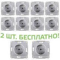 (АКЦИЯ!!! 8+2 шт.) Розетка Schneider-Electric Sedna с заземл. и з/шторками алюминий (SDN3000160-10)