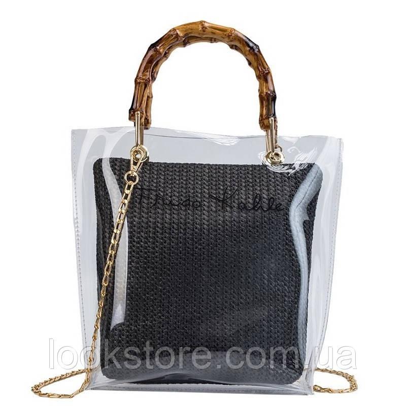 Женская прозрачная сумка Frido Kahlo черная