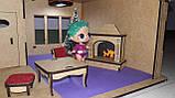 Кукольный домик для куклы Лол венге с подсветкой + Мебель в ПОДАРОК! 30см×23см, фото 3