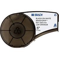 BRADY M21-500-414 лента 12.7мм/3.05м, BradyGrip полиэстер, черный на белом, для печати на Velcro