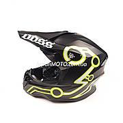 Шлем кроссовый VOSS (size: XL, черный матовый, желтые полосы)