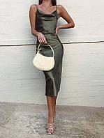 Женское платье-комбинация в длине миди в расцветках (шёлк)