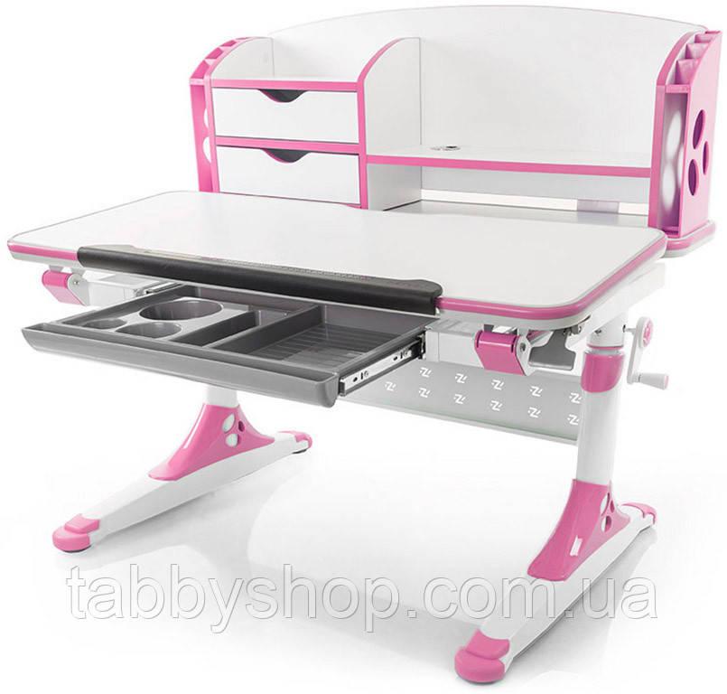 Детский стол Evo-kids Aivengo-M Pink (столешница белая / накладки розовые)