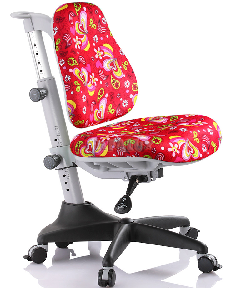Крісло зростаюче дитяче MEALUX Match RZ (червона оббивка з листочками)