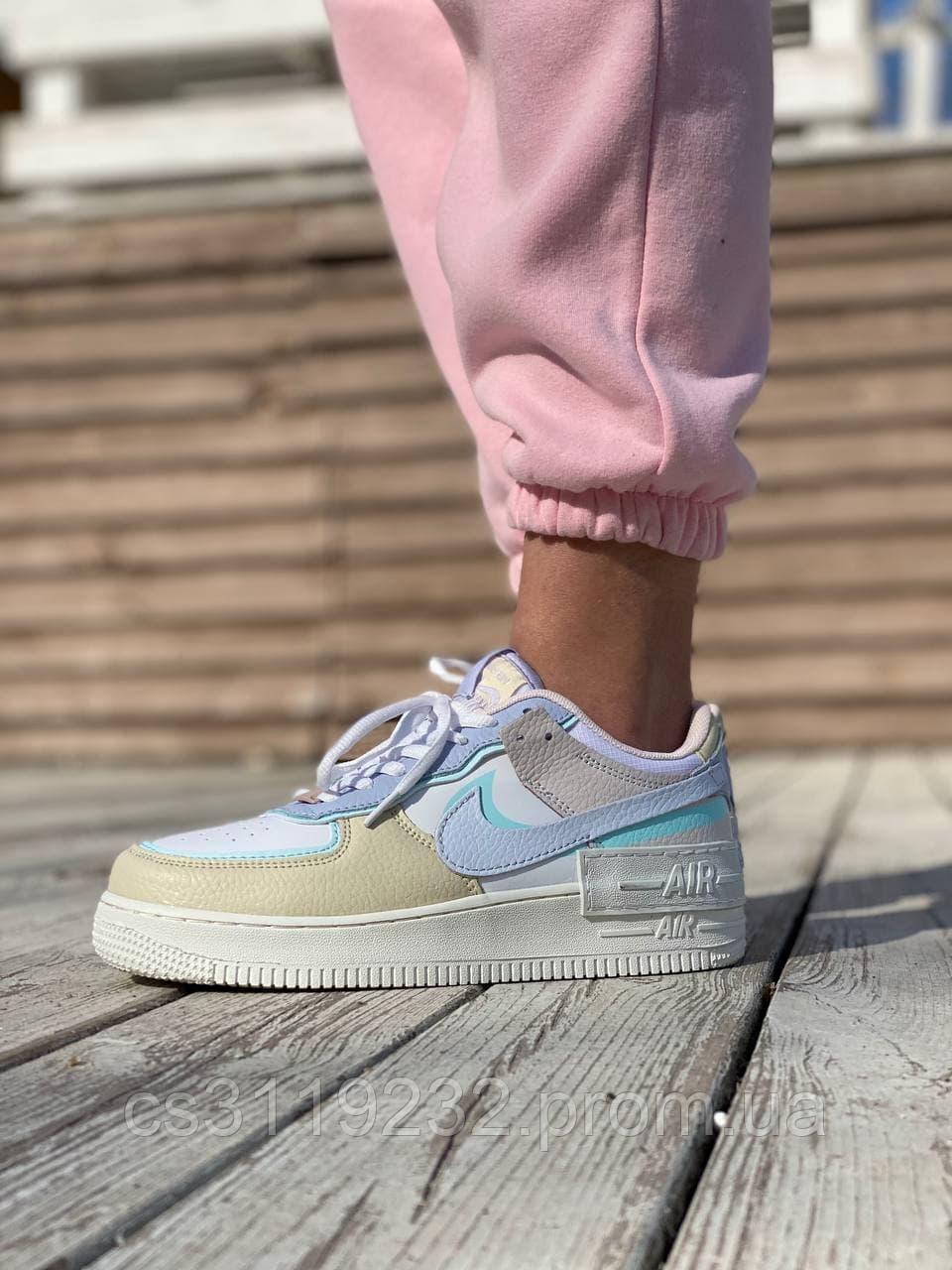 Жіночі кросівки Nike Air Force 1 Shadow White (білий/бежевий/синій)