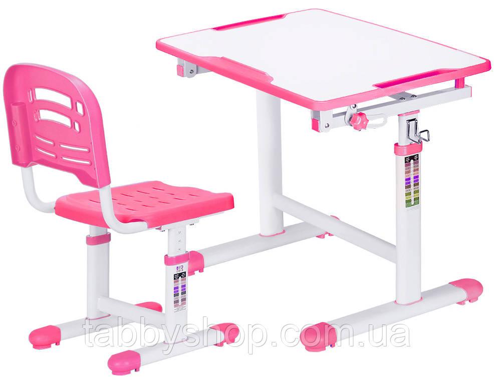 Комплект парта и стульчик Evo-kids Evo-07 Pink (столешница белая/пластик розовый)