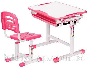 Комплект парта і стільчик Evo-Evo kids-06 Pink (стільниця біла/пластик сірий)