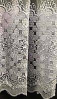 Фатиновая тюль с цветочной вышивкой, высота 2,8м ( 8Р7788 ), фото 9