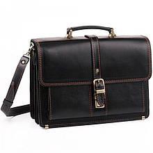Діловий класичний чоловічий шкіряний портфель ручної роботи з плечовим ременем чорний з коричневою ниткою
