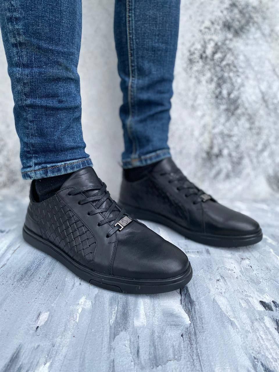 Стильні шкіряні чоловічі туфлі плетінка, колір чорний, розмір від 40 до 45