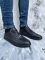 Стильные кожаные мужские туфли плетенка, цвет черный, размер от 40 до 45