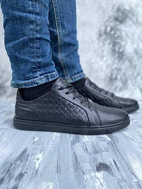 Стильні шкіряні чоловічі туфлі плетінка, колір чорний, розмір від 40 до 45, фото 2