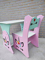 Стол и стул в детскую Единорожки (малиново-мятный), детская растущая парта