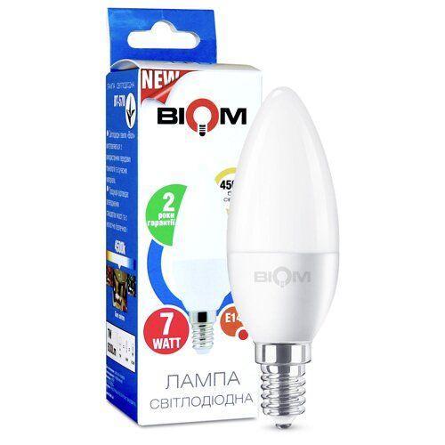Світлодіодная лампа Biom BT-570 C37 7W E14 4500К матова