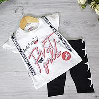 Летний детский костюм (футболка и бриджи), трикотаж, для девочек 2-5 лет (4 шт. в уп.