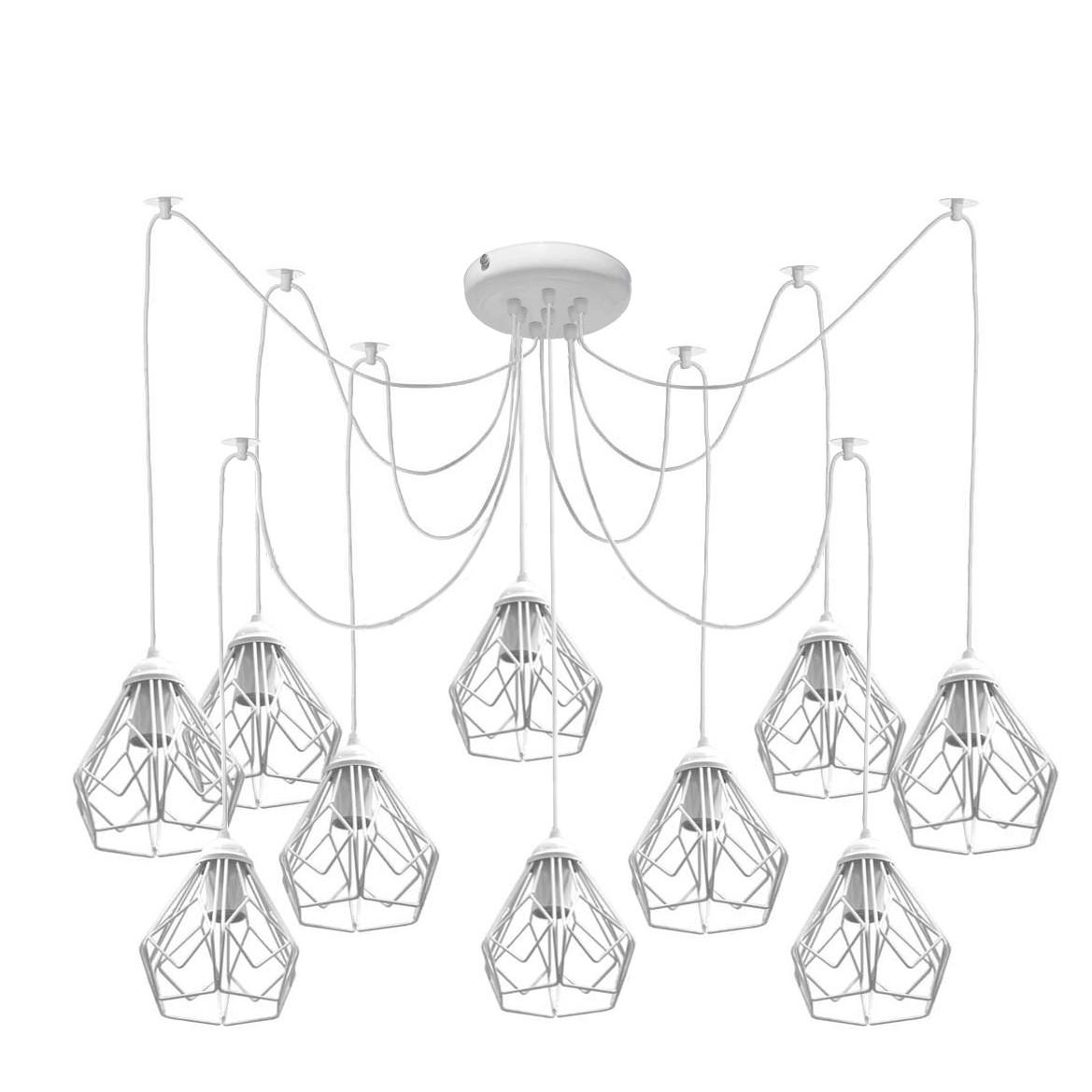 Люстра паук на десять плафонов NL 538-10 W  MSK Electric
