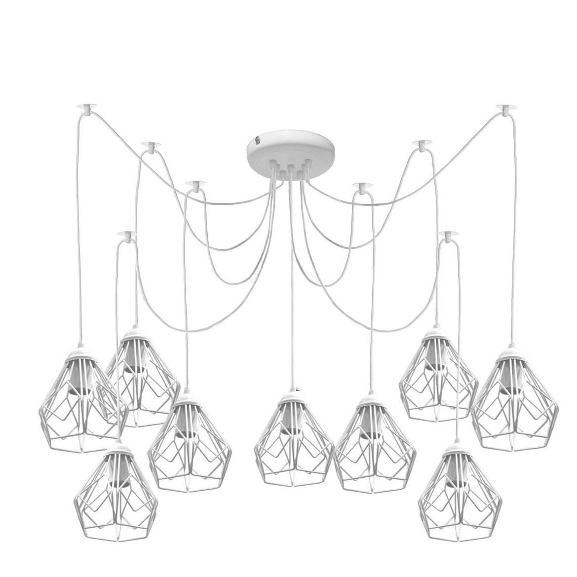 Люстра паук на девять плафонов NL 538-9 W  MSK Electric