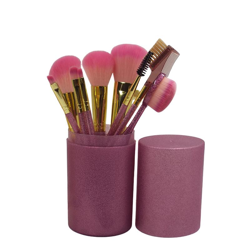 Набор кистей для макияжа в тубе, 9 шт, розово-перламутровые. Качественные кисти для макияжа.