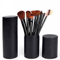 Набор кистей для макияжа в тубе, 12 шт., черные. Качественные кисти для макияжа.