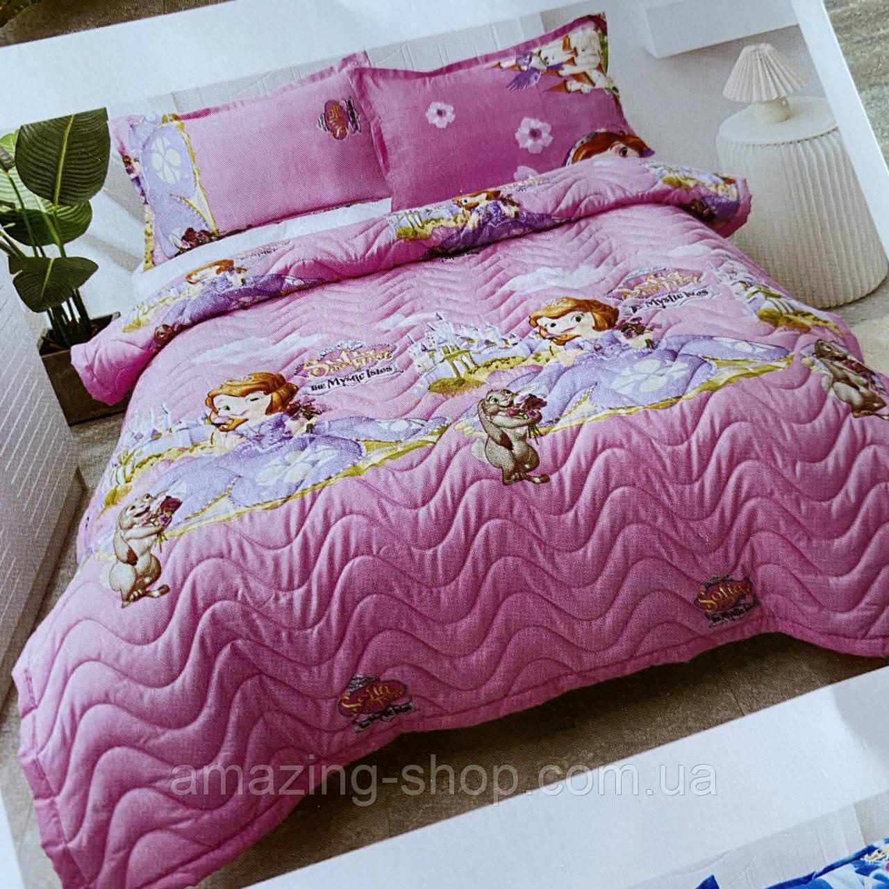 Покрывало с наволочкой 50*70см, одеяло стеганое на кровать или диван Koloco 160*210см Размер Полуторный