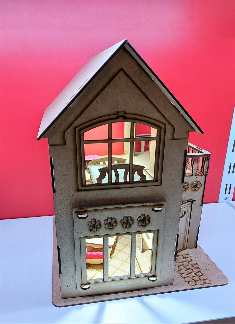 Ляльковий будиночок для ляльки Лол бежевий + Меблі в ПОДАРУНОК! 30см × 23см