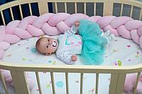 """Захисний бортик в ліжечко """"Косичка"""" 240 см (пудра) бавовняний велюр, фото 1"""
