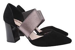 Туфли женские летние на каблуке из натуральной замши, черные Polann