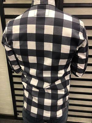 Рубашка мужская в клетку, цвета чёрно-белый, красно-чёрный, фото 2