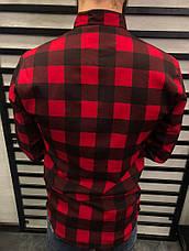 Рубашка мужская в клетку, цвета чёрно-белый, красно-чёрный, фото 3