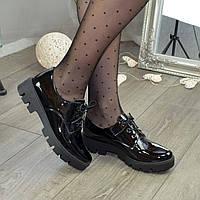 Туфли женские лаковые на шнуровке, цвет черный
