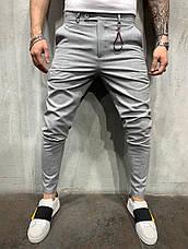 Брюки мужские стильные зауженные, цвета: серый, чёрный, фото 2