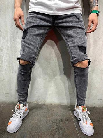 Джинси чоловічі сірі з рваними колінами, фото 2