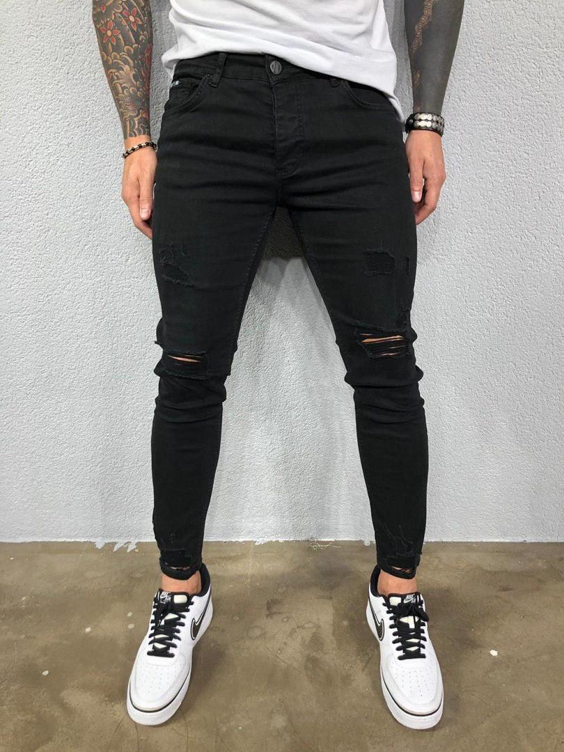 Джинси чоловічі чорні з рваними колінами