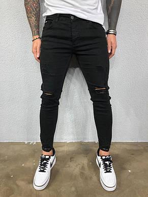 Джинси чоловічі чорні з рваними колінами, фото 2