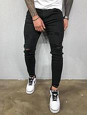 Джинси чоловічі чорні з рваними колінами, фото 3