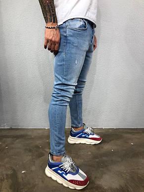 Джинсы мужские голубые с царапками, фото 2