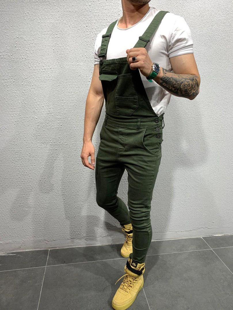 Комбинезон мужской джинсовый зелёный