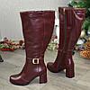 Сапоги кожаные женские на устойчивом каблуке. Цвет бордовый. Батал, фото 2