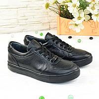 Кроссовки женские кожаные на шнуровке, цвет черный