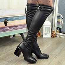 Ботфорты чулки женские кожаные на каблуке