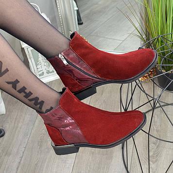 Ботинки женские комбинированные на маленьком каблуке, цвет бордовый. 37 размер