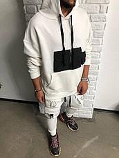 Худі толстовка кофта кенгуру чоловіча з капюшоном біла чорна, фото 2