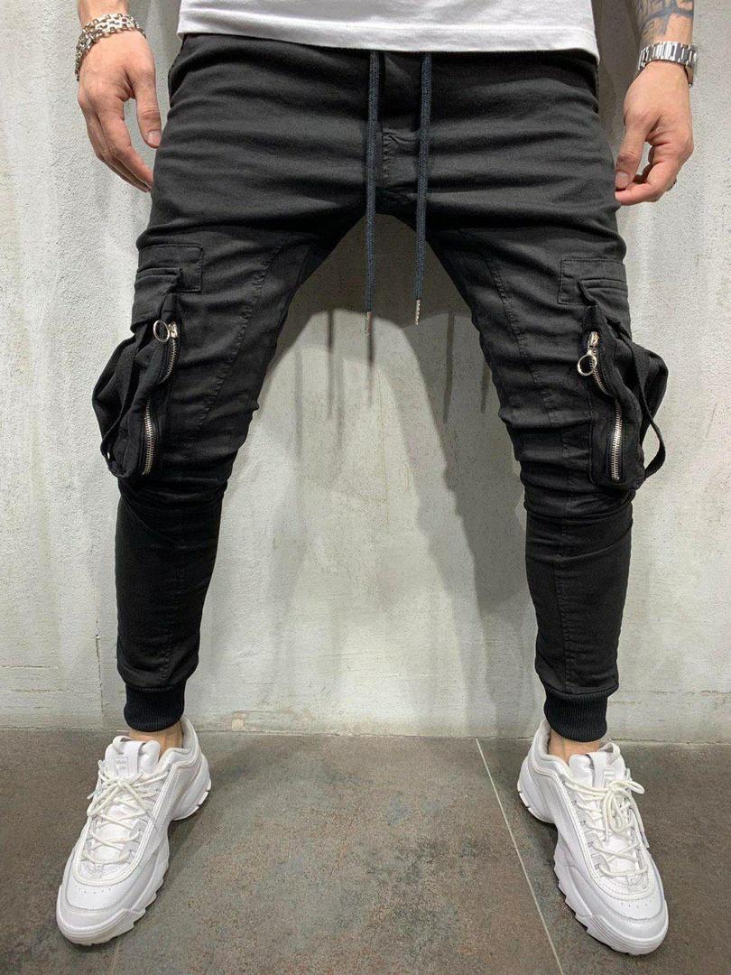 Джинси чоловічі стильні чорні з кишенями