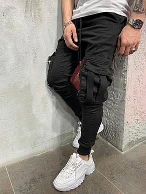 Джинси чоловічі стильні чорні з кишенями, фото 2