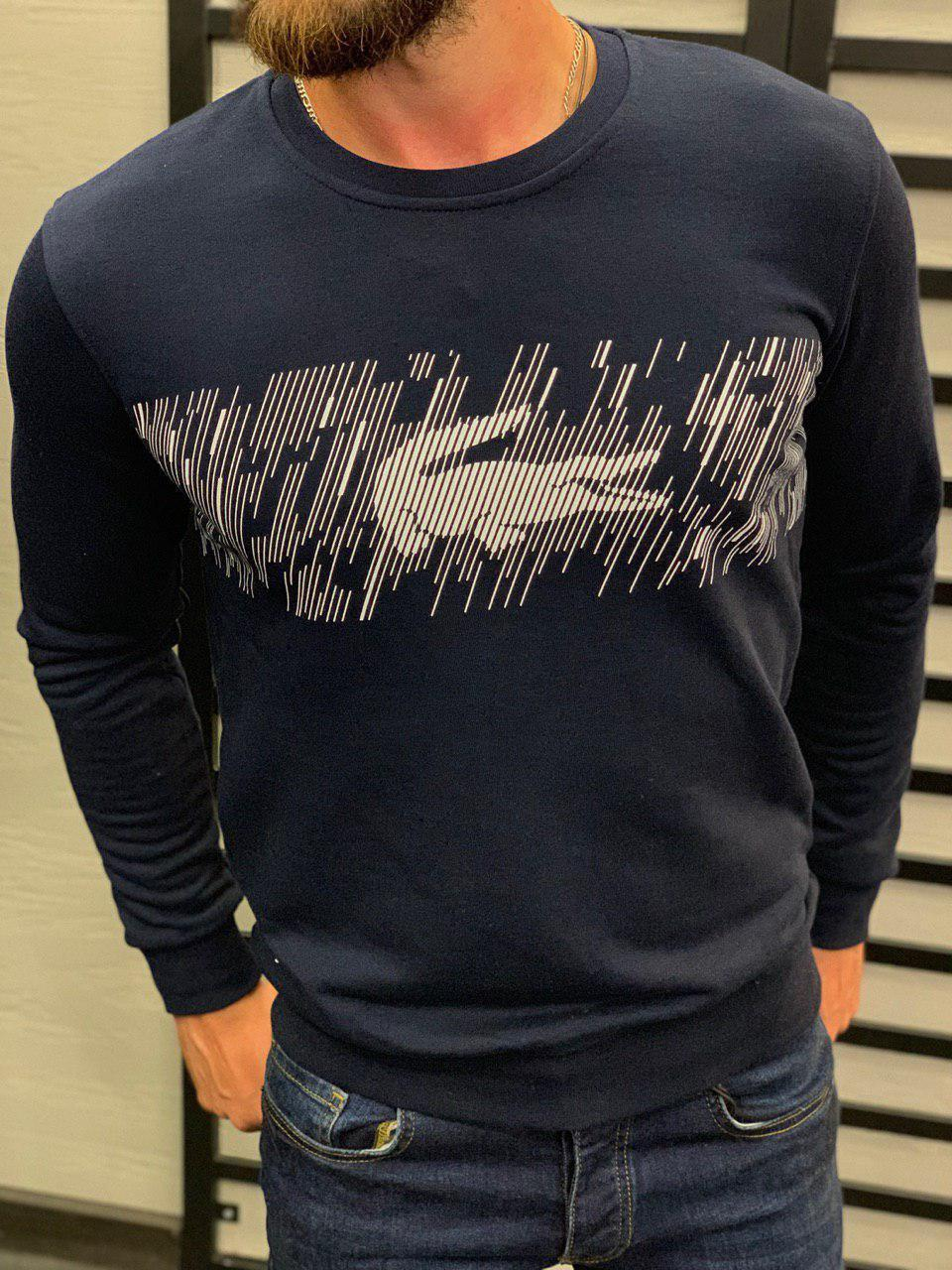 Крутейший мужской свитшот с принтом в стиле Лакост, синий, белый