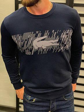 Крутейший мужской свитшот с принтом в стиле Лакост, синий, белый, фото 2