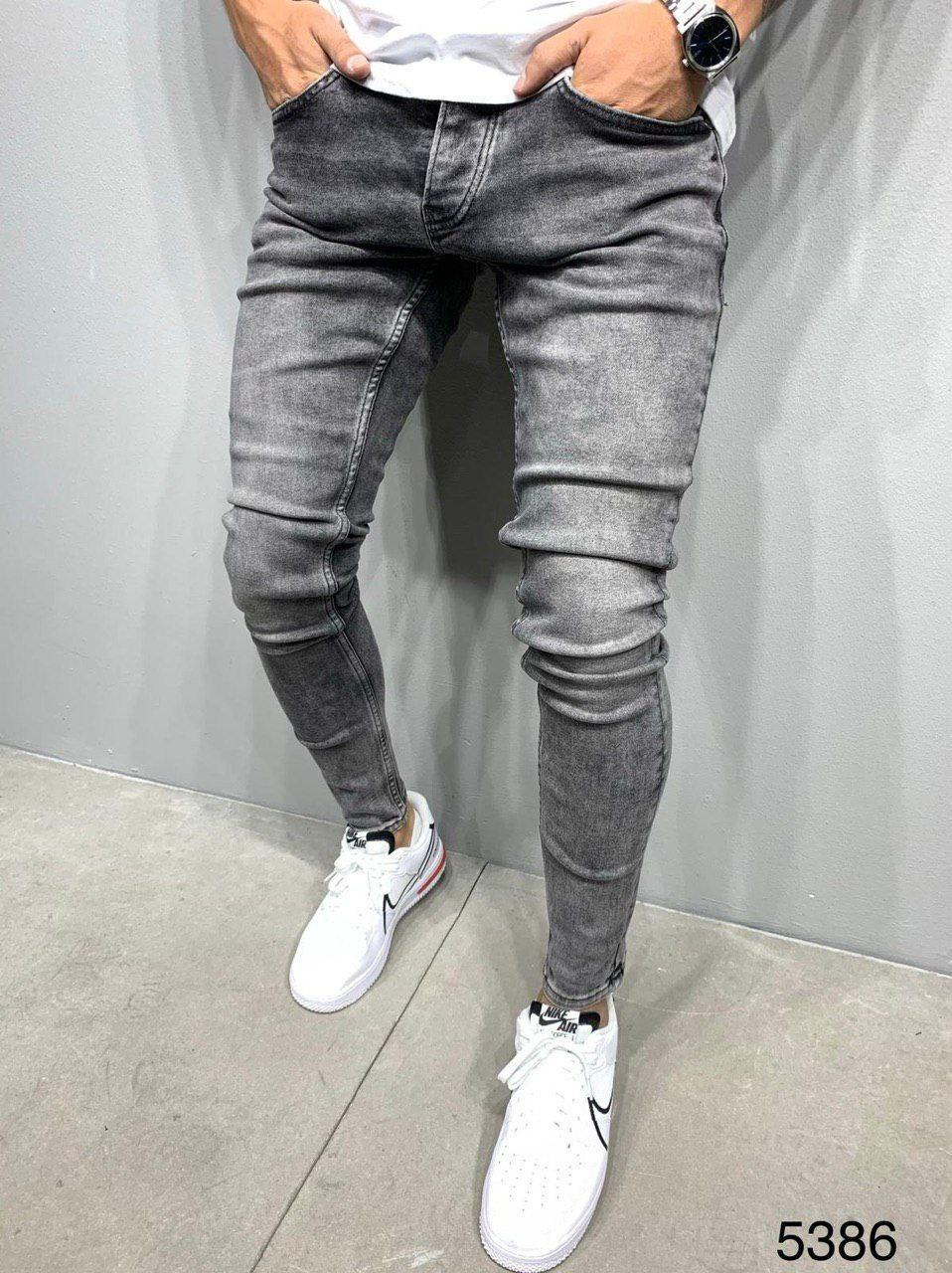 Джинсы мужские  серые стильные зауженные