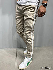 Штани чоловічі стильні літні сірі , бежеві в смужку на манжетах з лампасами, фото 3